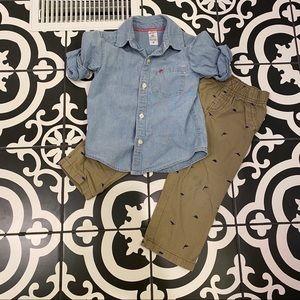 Carter's Dinosaur Chambray and Khaki Pant Set